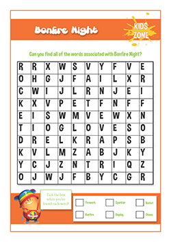 PSHE resources for primary schools - fire safety - bonfire night word search