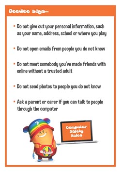 Primary PSHE classroom poster - Computer safety rules