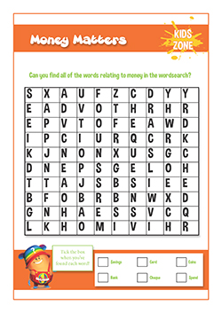 Free PSHE lessons for primary eduaction - money matters word search