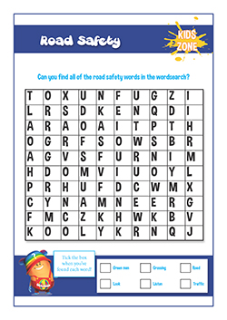PSHE lessons for primary - Road Safety word search