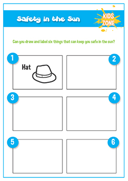 staying safe in the sun primary school worksheet activity