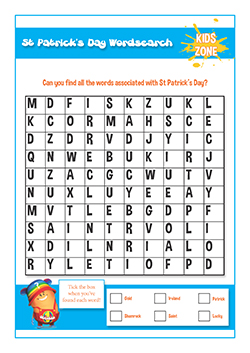 PSHE resources for primary schools - st patricks day word search