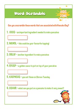PSHE resources for primary schools - word scramble pancake day