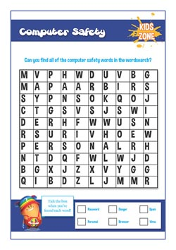 Free PSHE primary lesson for compurer safety - word search