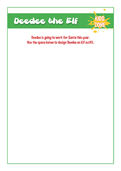 pshe lesson handout - christmas elf colouring