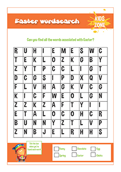 PSHE resources for primary schools - easter wordsearch