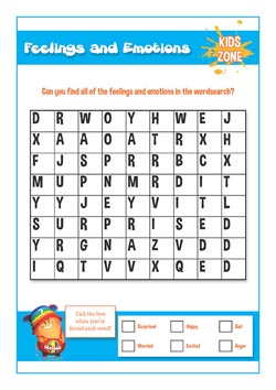 PSHE for primary schools uk - feelings and emotions word search