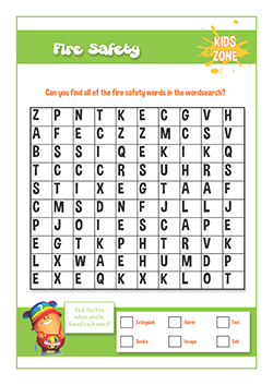 Free PSHE reseources and lessons - fire safety word search