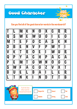 free PSHE primary school material - good character word search