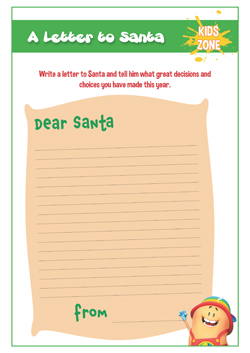 primary pshe christmas handout - letter to santa