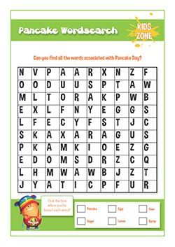 PSHE resources for primary schools - fire safety - pancake day word search