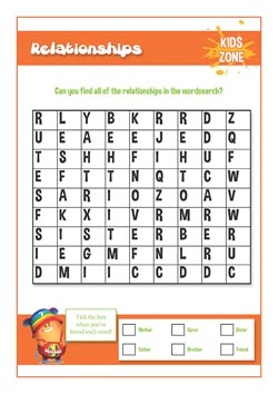 Creating a primary school PSHE lesson - relationships word search
