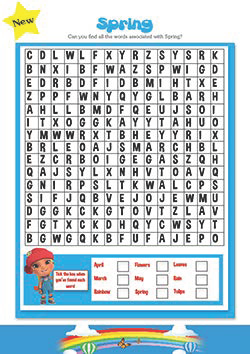 PSHE resources for primary schools- spring wordsearch